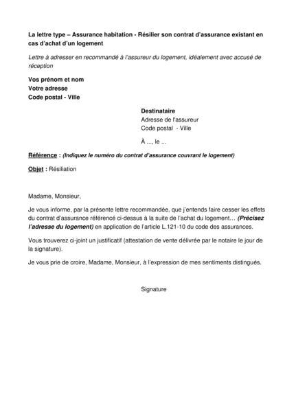 Modele Resiliation Contrat Assurance Habitation assurance habitation r 233 silier le contrat d assurance