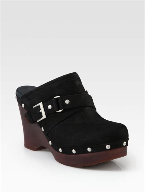 ugg suede studded buckle wedge clogs in black lyst