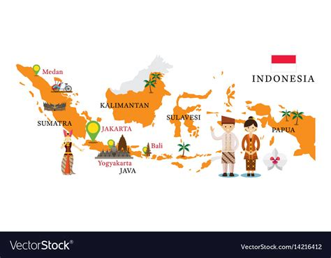 indonesia map  landmarks royalty  vector image