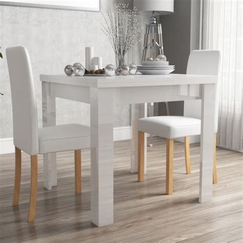White Gloss Dining Chairs Vivienne Fliptop White Gloss Dining Table 2 Pu Leather Dining Chairs Furniture123
