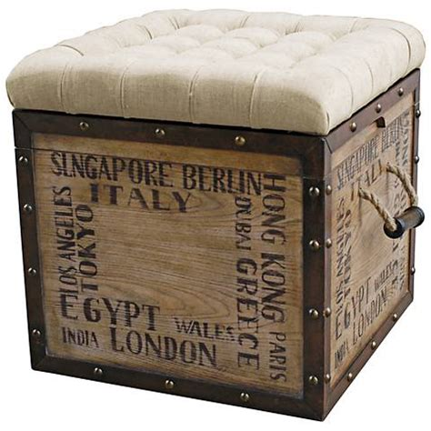 Wood Crate Ottoman Birch Wood Crate Upholstered Storage Ottoman 2j142 Ls Plus