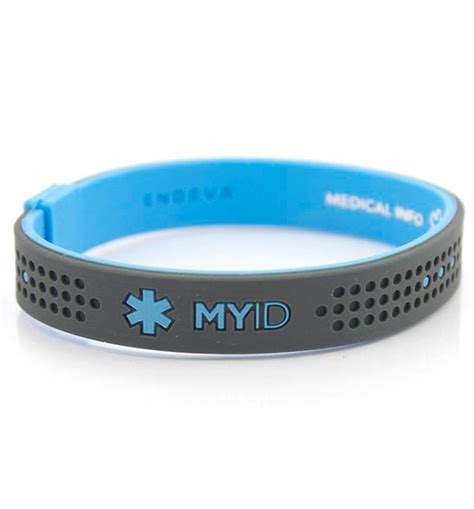 MyID Sport Blue and Gray Medical ID Bracelet   Lauren's Hope