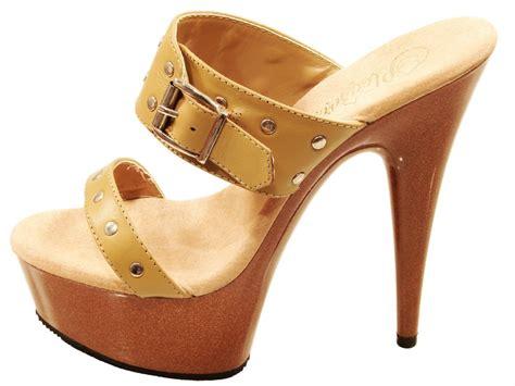 wood high heels pleaser shoes delight 602 9 camel wood cork look high