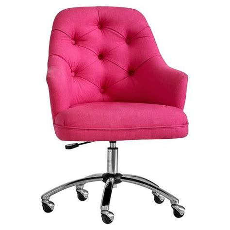 pink tufted vanity chair