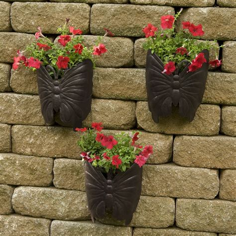 metal wall planters planter large butterfly metal wall planter 3pk