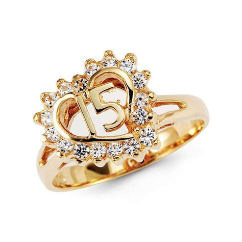 14k solid yellow gold sweet 15 quinceanera cz ring ebay