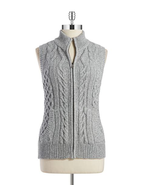 cable knit sweater vest lyst jones new york cable knit sweater vest in gray