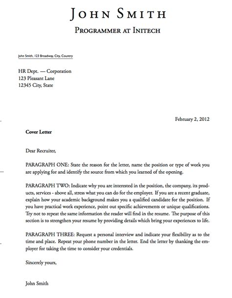 Cover Letter With One Address Cover Letters 021