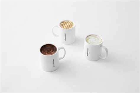 design mug bottom nendo recreates starbucks mugs with coffee graphics on the