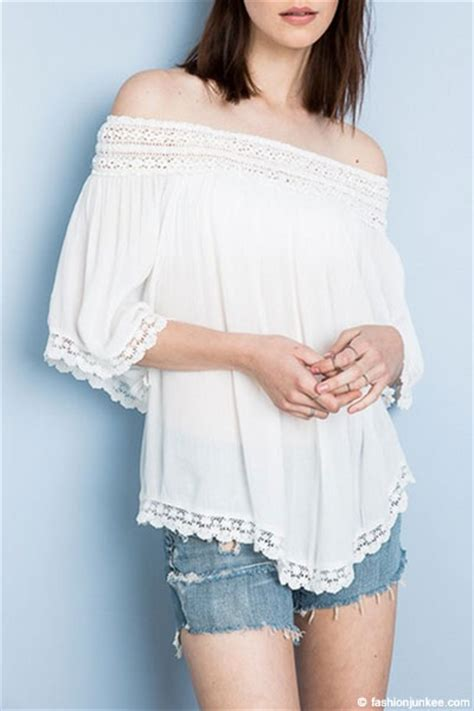 Shoulder Lace Tunic flowy the shoulder lace tunic top white