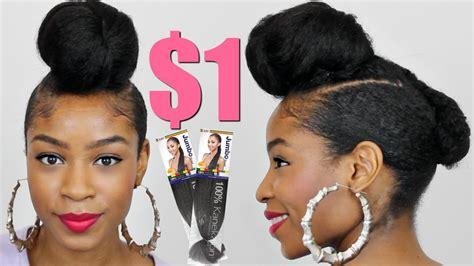 kankelon hair bun style faux shaved sides top knot bun with kanekalon hair natural