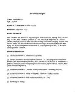 Psychological Evaluation Letter Sle Psychiatric Report Template 28 Images Sle Psychological Report 7 Documents In Pdf Word
