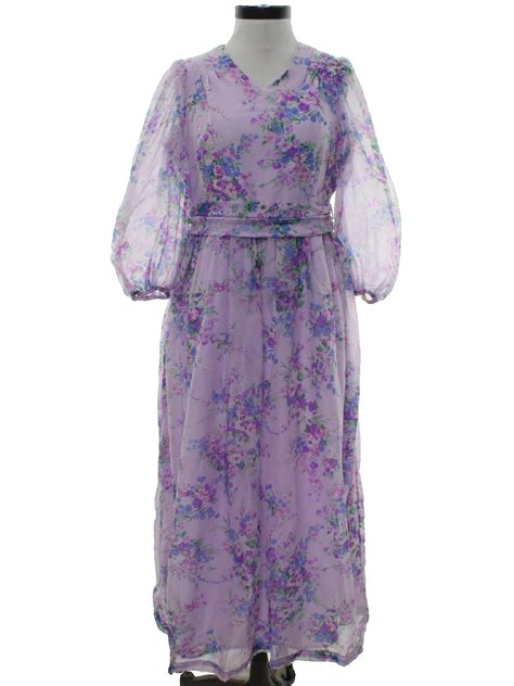 60s Spiro Printed Maxi Dress In Blue And Purple by Sixties Home Sewn Dress Late 60s Home Sewn Womens