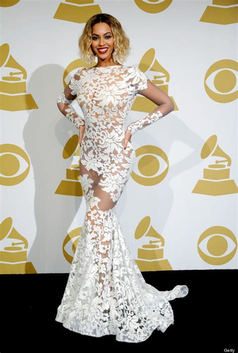 Beyonce Grammy Wardrobe by Beyonc 233 Changes From Bodysuit Into Equally Peek A Boo