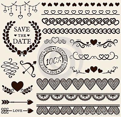 love wedding design elements vector love romance and wedding design elements vector set