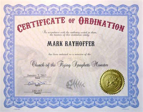 minister license id card template church of the flying spaghetti certificates of