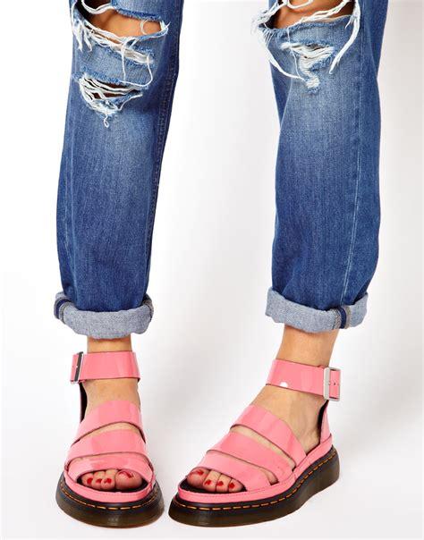 doc marten clarissa sandals lyst dr martens clarissa acid pink sandals in pink