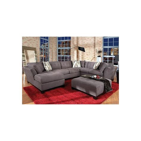 rooms to go cindy crawford sofa cindy crawford home metropolis slate left 4 pc livingroom