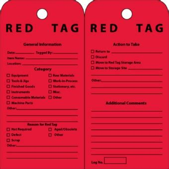 5s Red Tags 25 Pack 5s Tag Template