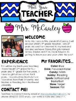 meet the teacher editable template by zanah mccauley tpt