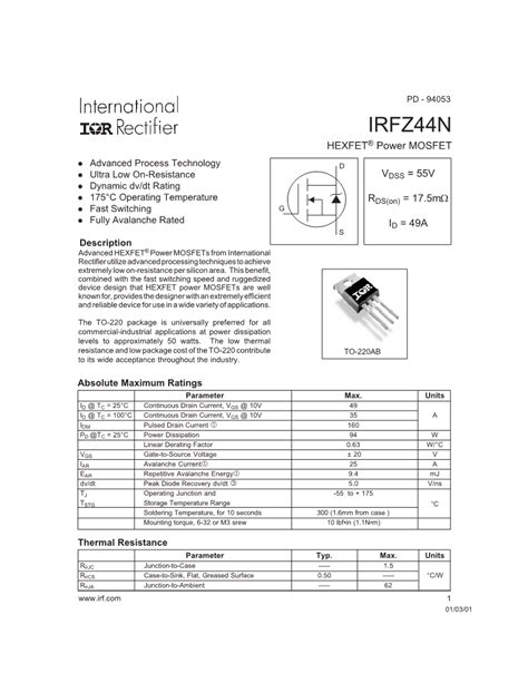 transistor mosfet irfz44n datasheet irfz44n n channel mosfet datasheet electronic component datasheets