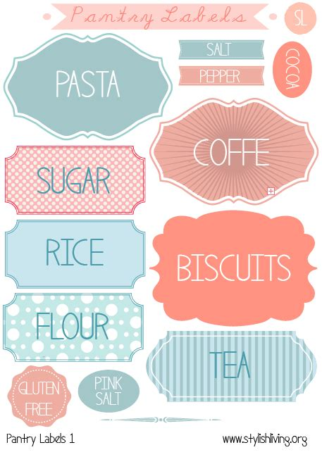 printable kitchen tags stylish living pantry labels
