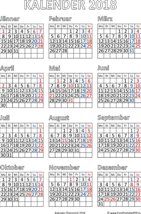 Kalender 2018 214 Sterreich Mit Feiertagen Pdf Pdf Drucken