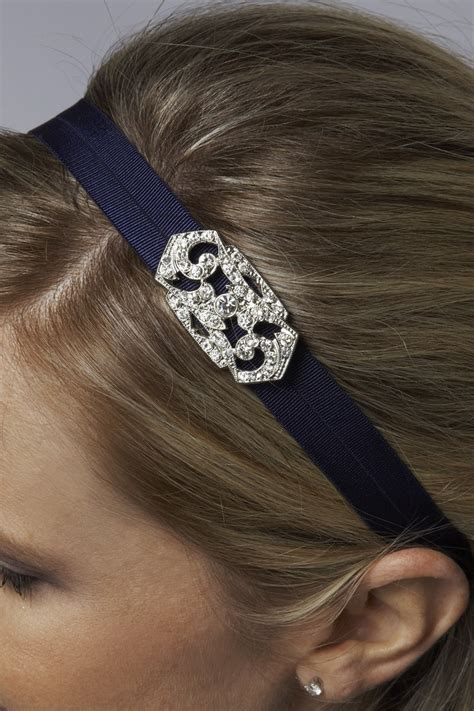 hairstyles with elastic headband bridesmaid headband elle jae deco broach on navy