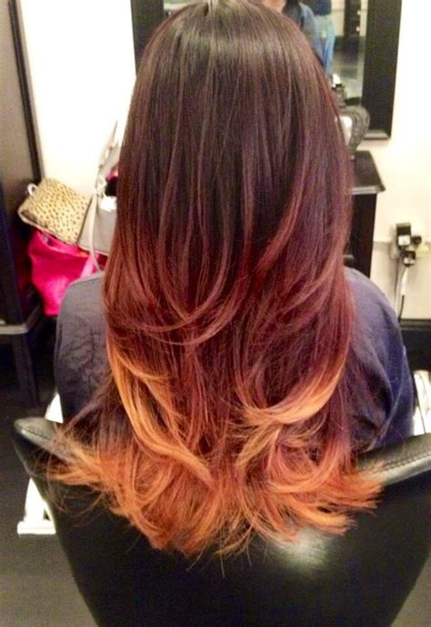 ombre hair images pictures becuo red brown and blonde ombre