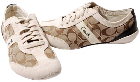 white coach sneakers coach khaki parch or black white signature c baylee