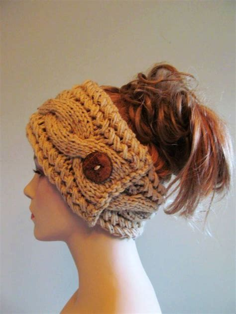 knitted headbands pattern with button knitted cabled headbands with button just picture no