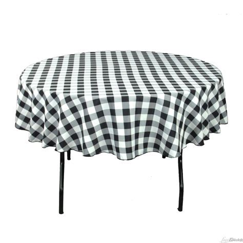 Buy 90 inch round, black & white checkered tablecloth for