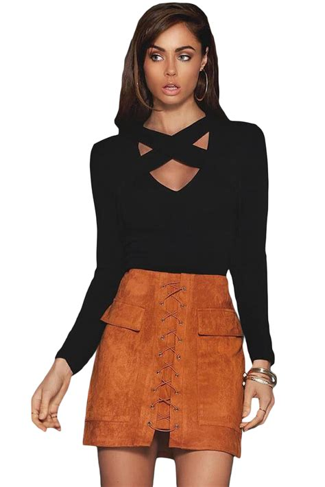 Autumn Blouse 25993 black cross straps front sleeve crop top lc25993 9 99 colored contacts