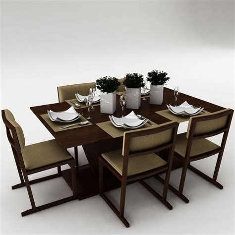 Dining Table Models Dining Table Set 22 3d Model Max Obj Fbx Mtl Cgtrader
