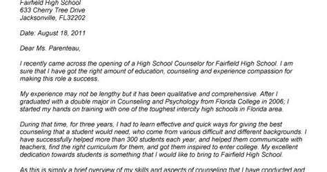 Middle School Counselor Cover Letter by School Counselor For School Counselors
