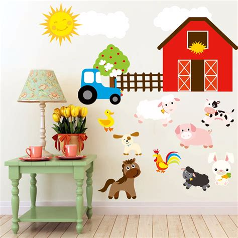 home decor for kids aliexpress com buy cartoon diy farm animals wall