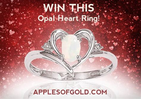 Jewelry Sweepstakes - enter to win an opal heart ring applesofgold com