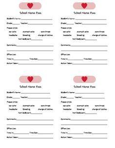 1000 Images About School Nurse Office On Pinterest Nurses Nurse Bulletin Board And Schools Class Pass Template