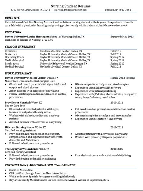 Certified Nursing Student Resume Sample   RESUMES DESIGN