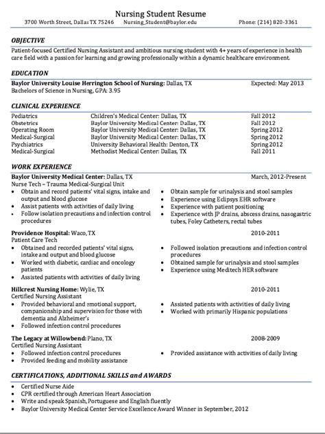 Certified Nursing Student Resume Sample   RESUMES DESIGN