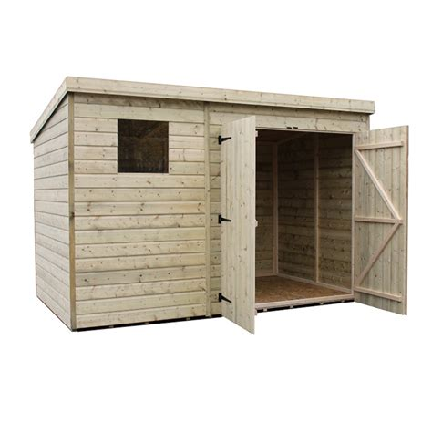 10 X 6 Pent Shed by 10 X 6 Pressure Treated Tongue And Groove Pent Shed With 1