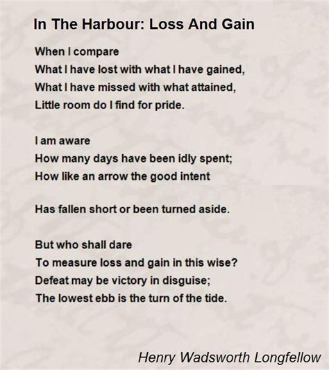 loss of a poem in the harbour loss and gain poem by henry wadsworth longfellow poem