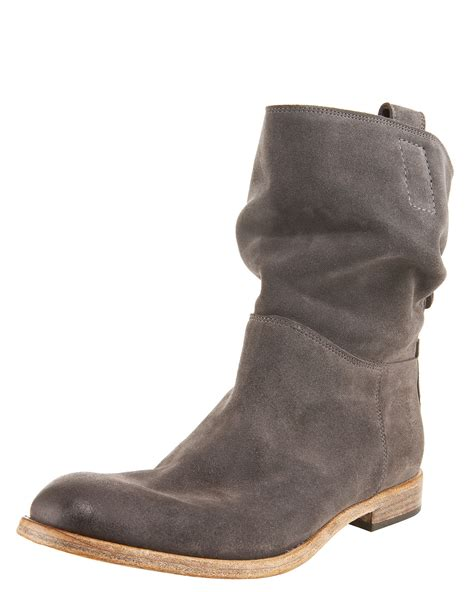 gray suede boots alberto fermani slouchy suede ankle boot in gray grey lyst