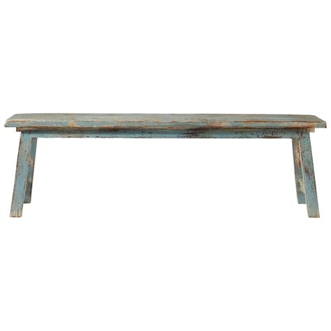 distressed benches mango wood bench in grey blue with distressed finish w