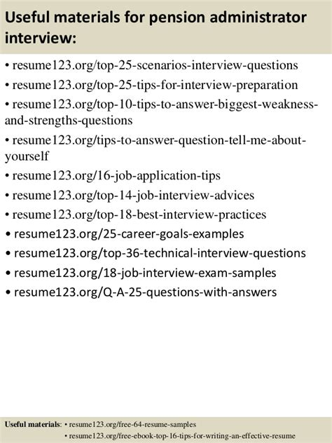Pension Administrator Sle Resume by Top 8 Pension Administrator Resume Sles