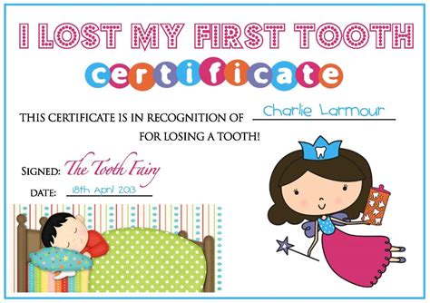 tooth certificate template teddy tales april 2013
