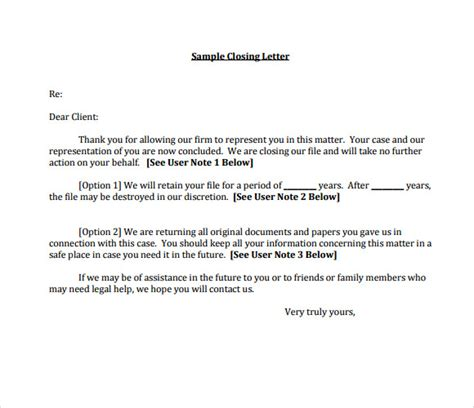 sample closing business letter templates
