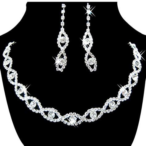 Rhinestone Necklace Earring s jewelry set bridal wedding 8 shape rhinestone