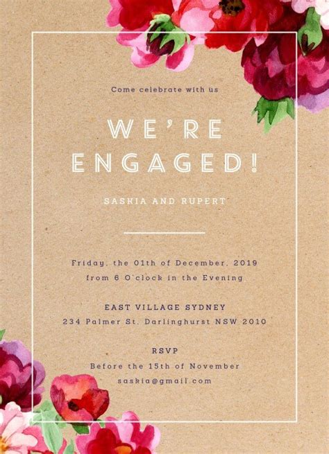 sle engagement invitation cards templates rustic flowers white ink engagement invitations