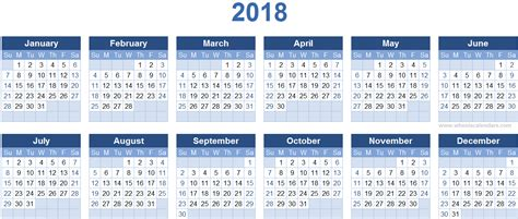 Calendã Semanas 2018 2018 Calendar Templates Image Calendar 2017 2018